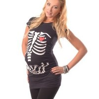 Skeleton - Adorable Slogan Cotton Printed Maternity Pregnancy Top T-shirt 2003 Variety of Colours (12, Black)