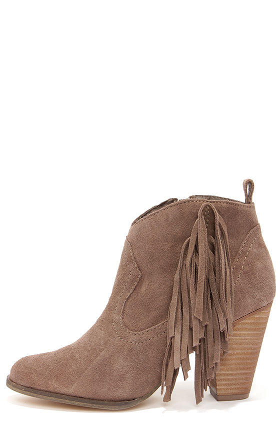 a5b47122246 Steve Madden Ponncho Taupe Suede Fringe from Lulu s