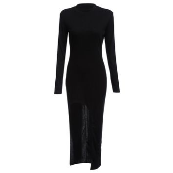 Fashionable Round Collar Long Sleeve Pure Color High Slit Women Dress
