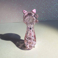 Pretty Kitty Pink Ears and Tail Pink Glass Pipe, Glass Spoon Pipe, Custom Glass Pipe, Smoking Pipe