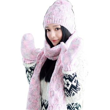 Autumn and winter new style fashion knitting suite pure color hat scarf gloves women three sets