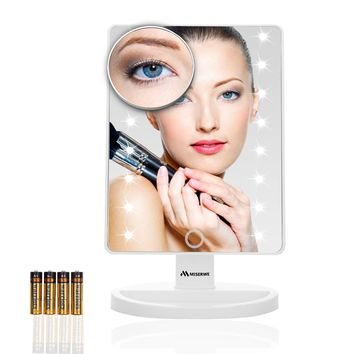 Miserwe Vanity Mirror with Lights Touch Screen 16 Led Lighted Makeup Mirror with 4 AA Battery Large Size Removable 180 Degree Rotation Mirror with Lights and High Definition Clarity