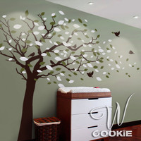 Wall decal Tree with blowing leaves Nursery Wall by wcookie