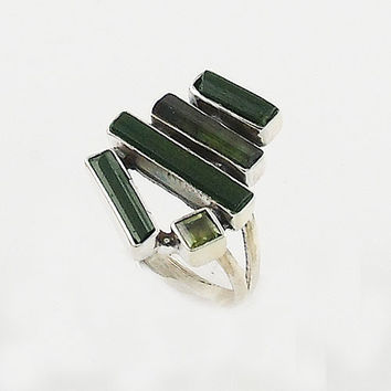 Green Tourmaline & Peridot Sterling Silver Ring