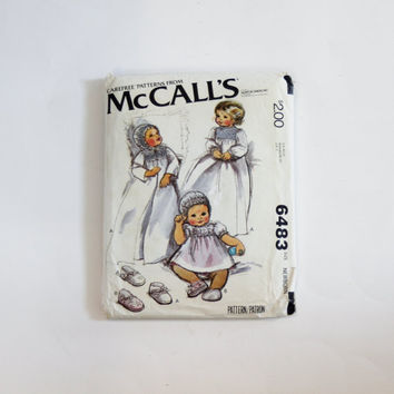 McCall's Carefree Pattern 6483: Baby's Coat, Dress, Bonnet, and Shoes with Blue Transfer for Smocking - Size Newborn
