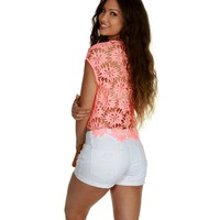 Sale-neon Peach Florescent Crop Top