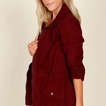 Feminine Fit Cargo Jacket Deep Wine