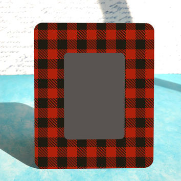 Lumberjack Birthday Party Baby Shower Nursery Decor, Red Buffalo Plaid Custom Picture Photo Frame 4x6, 5x7, Red + Black Plaid Buffalo Check