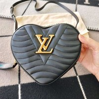 LV Louis Vuitton Fashion Women Leather Shoulder Bag Handbag Heart Crossbody Satchel Black