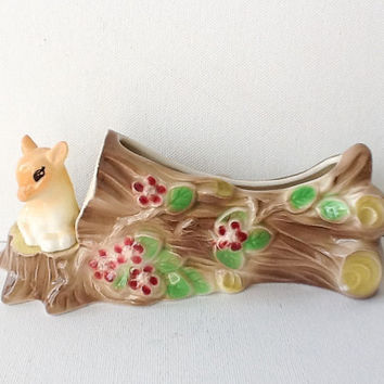 Hornsea Fauna Deer Vase,  Vintage Hornsea Royal Ceramic Log Posy Trough with Baby Deer, Model Number 50, 1960s,  01002