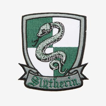 "Licensed cool Harry Potter Slytherin Snake Crest Embroidered IRON ON Patch Badge 3 1/2"" x 3"""