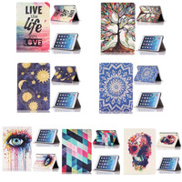 2015Flower Skull Flip Stand Leather Case Cover For iPad Mini 1 2 3 Retina