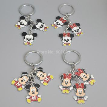 Free Shipping 1PCS Lovely Running Keychains Mickey Minnie Mouse Baby Cartoon Bag Charm Keyrings PCXB