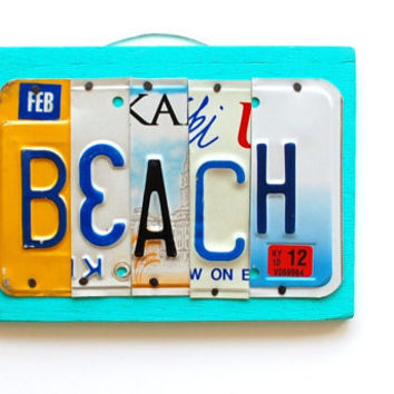 BEACH, OOAK license plate art, nautical, summer, cottage shabby chic decor, christmas gift, valentines day gift, birthday gift, teacher gift