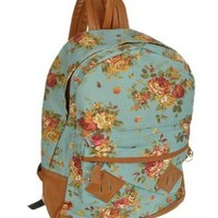 Generic Women Girl Lady Vintage Cute Flower School Book Campus Bag Backpack