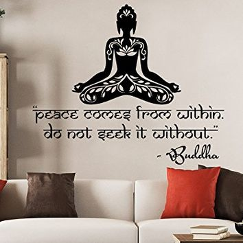 Wall Decals Quotes Vinyl Sticker Decal Quote Lotus Flower Yoga Buddha Peace comes from within Do not seek it without Home Decor Art Bedroom Design Interior C39