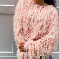CANDY CRUSH SHAGGY SWEATER - BLUSH