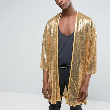 Reclaimed Vintage Inspired Kimono In Gold Sequin In Reg Fit at asos.com