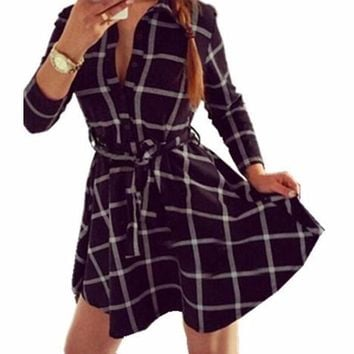 Woman's Black Plaid Button Up Front Plaid Mini Dress/Tunic with Front Tie