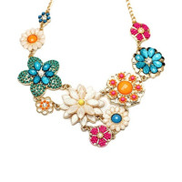 Women Bohemian Style Vintage Flower Pendant Chain Choker Alloy Necklace SHY (Size: One Size) = 1928740292