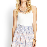 LOVE 21 Pastel Tribal Print Skirt Cream/Pink