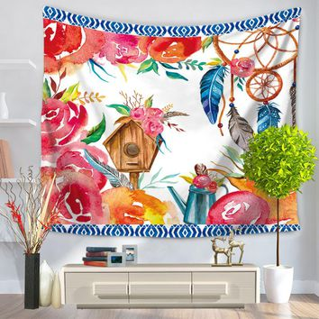 Flower Wall Tapestry Wall Hanging Polyester Sandy Beach Towels Yoga Mat Picnic Blanket Throw Rug Wall Carpet America