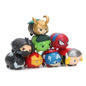 Marvel the Avengers 8pcs/set Kawaii Tiny Tsum Tsum Mini Spider man Iron Man Hulk Captain America Loki PVC Avengers Figure Toys