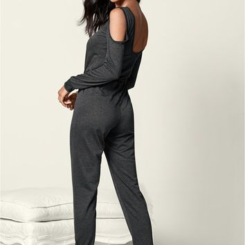 Lounge Jumpsuit in Dark Grey | VENUS