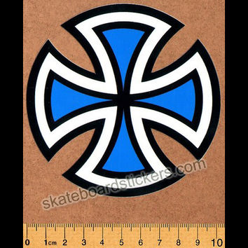 Independent Trucks Cut Cross Skate Sticker - Blue