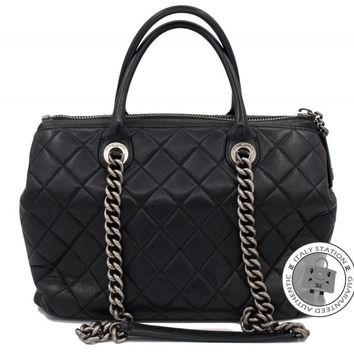 Auth Chanel New Large Chanel Boy Chained Tote Bag Handle Calf Black Shoulder Bag