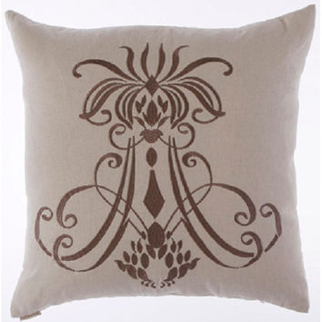 Canaan Company 2135-L Insignia Embroidered Linen 24 x 24 Pillow