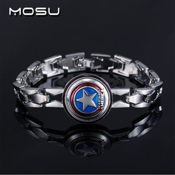 MOSU Hot Movie The Avengers Silver Alloy Bracelet Captain America Shield Metal Bangle cosplay jewelry can dropshipping YS10585