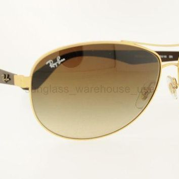 Gotopfashion RAY-BAN RB 3526 112/13 63MM MATTE GOLD FRAME BROWN GRADIENT LENSES SUNGLASSES