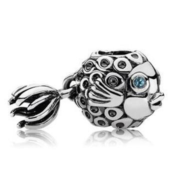 New Silver Plated Bead Vintage Angel Fish With Crystal Pendant Beads Charms Fit Women Pandora Bracelet Bangle DIY Jewelry