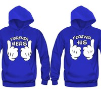 Forever Hers - Forever His Cartoon Hands Unisex Couple Matching Hoodies