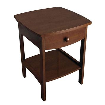 Compact Curved Wooden End Table with Drawer by Winsome Woods