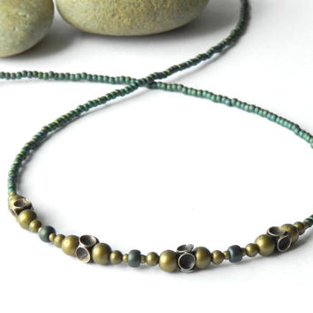 Beaded Sterling Silver and Brass Boho Necklace // Rustic Tribal Necklace  // Bohemian Jewelry