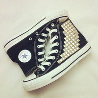 Studded Converse black high top with silver pyramid by CUSTOMDUO on ETSY