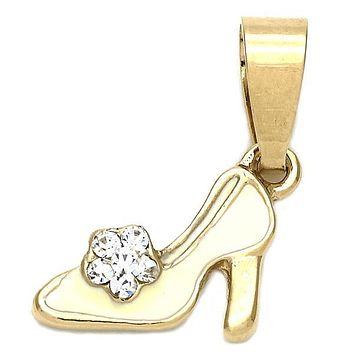 Gold Layered Fancy Pendant, Shoes Design, with Crystal, Gold Tone
