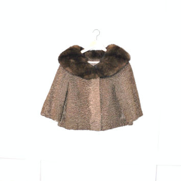 1950s persian lamb coat / vintage 50s HUDSONS BAY fur trim brown curly lamb capelet