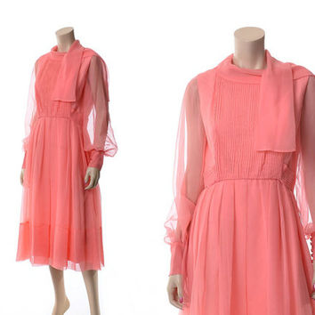 Vintage 60s Helen Rose Chiffon Dress 1960s Sheer Illusion Draped Grecian Cocktail Party Dress