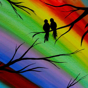 Love bird painting Colorful bird art Bird lover Valentines gift Contemporary Canvas wall art Acrylic painting Canvas art Lovers art Tree art