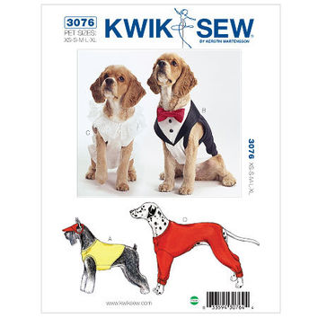 DOG COAT Pattern XS Small Med Lrg X-large Pet Shirt Tuxedo Bow Tie Ruffle Top Front & Back Legs Pullover Kwik Sew 3076 Craft Sewing Patterns
