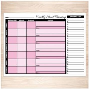 Pink Weekly Meal Planning Page with Grocery List - Printable