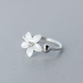 Fresh shell flower and ball 925 sterling silver opening ring