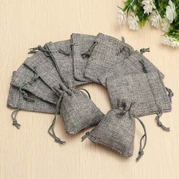 10Pcs Small Rustic Jute Burlap Bags Hessian Sack Wedding Favor Gift