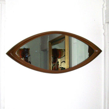 vintage syroco mirror oblong cat eye oval mirror mid century danish modern wall hanging home decor decorative brown