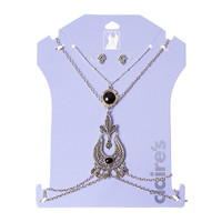 Antique Silver Filigree Amulet Body Chain, Round Jet Black Pendant and Hamsa Hand Stud Earrings Set of 3