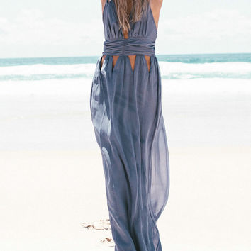 Casual Halter Open Work Cross Back Solid Color Maxi Dress