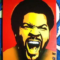 Ice Cube portrait painting,stencil art,spray paint,hip hop,wicked,afro,NWA,rapper,icon,Los Angeles,California,handmade,yellow,red,orange,pop